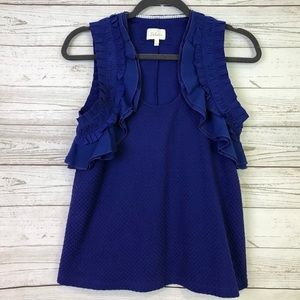 Deletta royal blue ruffle XS knit top blouse tank